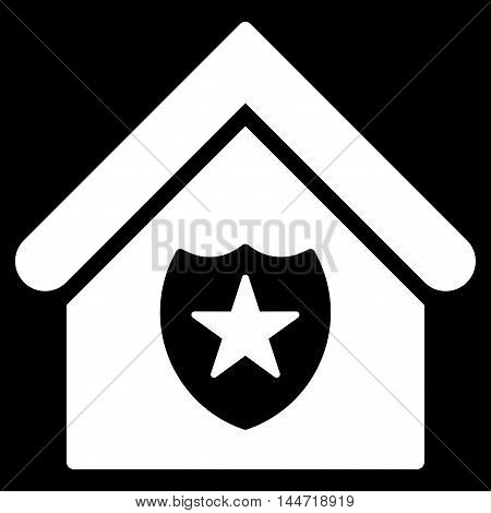 Realty Protection icon. Glyph style is flat iconic symbol, white color, black background.