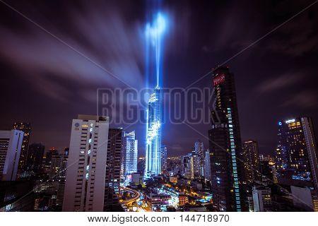 BANGKOK, Thailand - August 28, 2016 : View at MahaNakhon skyscraper in Bangkok, Thailand.