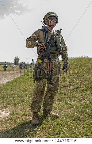 Lviv Ukraine - July 6 2016: Ukrainian-American joint military exercises near the Lviv rapid trident 2016.Ukrainian commando after training fight Lviv.Ukraine.