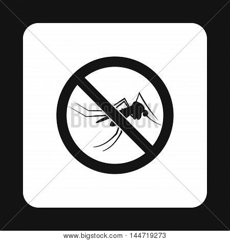 Prohibition sign mosquitoes icon in simple style isolated on white background. Warning symbol