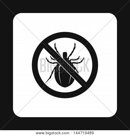 Prohibition sign clamp icon in simple style isolated on white background. Warning symbol