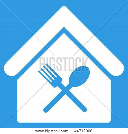 Food Court icon. Glyph style is flat iconic symbol, white color, blue background.