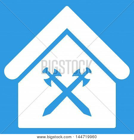 Guard Office icon. Glyph style is flat iconic symbol, white color, blue background.