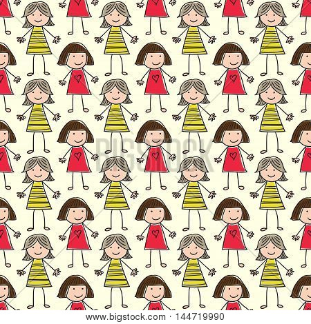 seamless pattern with the image of children