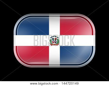 Flag of Dominican Republic. Rectangular Shape with Rounded Corners. This Flag is One of a Series of Glass Flag Icons