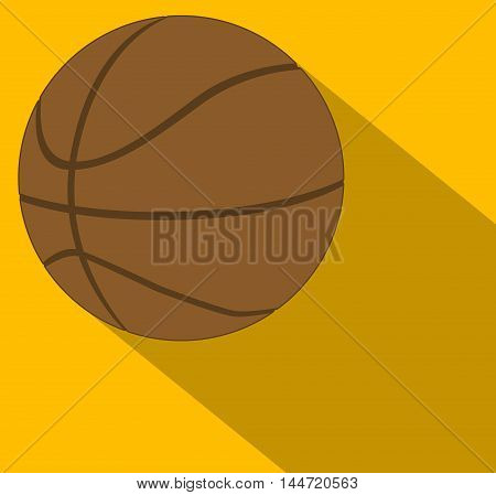 Basketball with shadow over an orange background