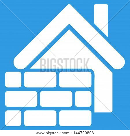 Realty Brick Wall icon. Glyph style is flat iconic symbol, white color, blue background.
