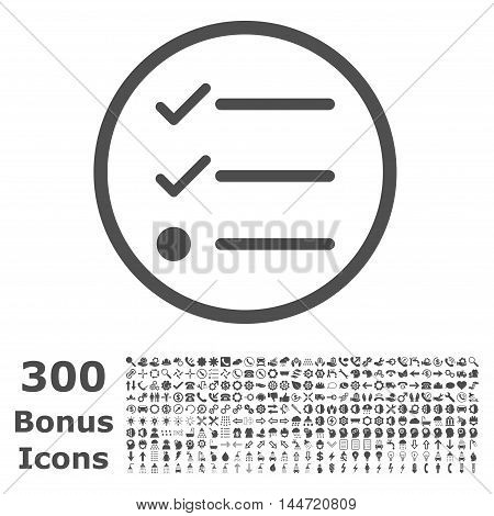 Checklist rounded icon with 300 bonus icons. Vector illustration style is flat iconic symbols, gray color, white background.