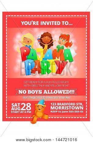 Pajama party invitation pink poster. Vector illustration