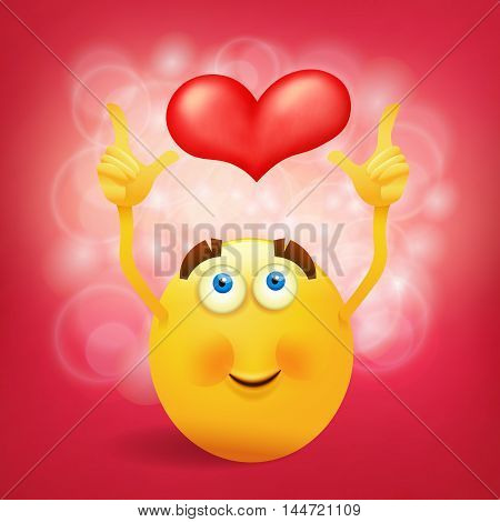 Yellow round smiley face with pink heart. Vector illustration