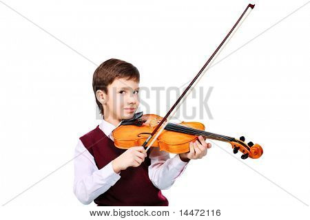 Portrait of a boy playing his violin. Isolated over white background.