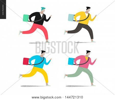 Young man running with a bag in four colors. Flat vector cartoon illustration of a young man hurrying to somewhere, wearing a bag on a long belt.