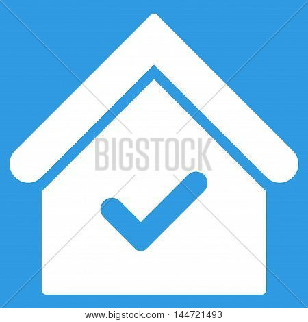 Valid House icon. Glyph style is flat iconic symbol, white color, blue background.