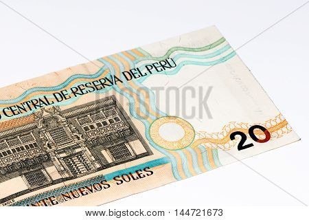 20 soles nuevos bank note. Soles nuevos is the national currency of Peru