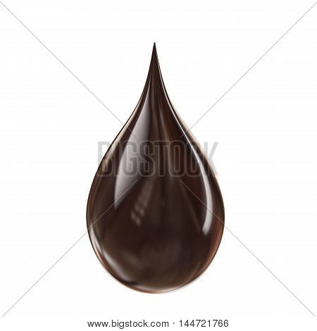 3D black chocolate droplet isolated on white background