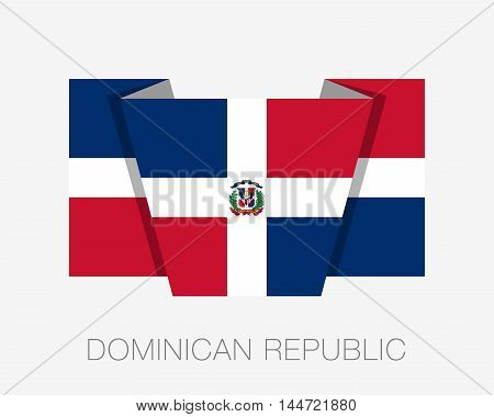 Flag Of Dominican Republic. Flat Icon Wavering Flag With Country Name