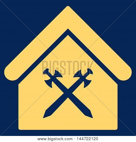 Guard Office icon. Glyph style is flat iconic symbol, yellow color, blue background.