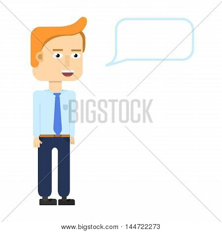 Businessmen characters smiling isolated. Startup entrepreneur presenting information - poster with a place for your text.