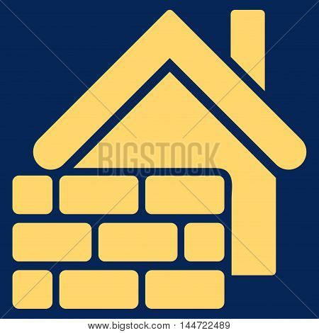 Realty Brick Wall icon. Glyph style is flat iconic symbol, yellow color, blue background.