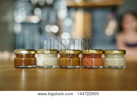 Small glass jar with a delicious honey souffle.