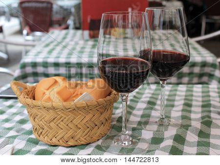 two glasses of wine an aperitif in the restaurant