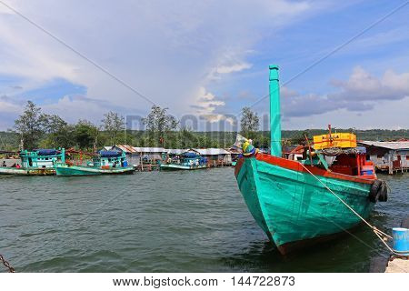Fishing boats at the port of Sihanoukville in Cambodia