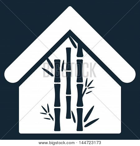 Bamboo House icon. Glyph style is flat iconic symbol, white color, dark blue background.