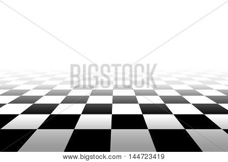 Checkered background in perspective - vector illustration. Squares - black and white