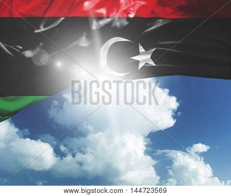 Libya flag on a beautiful day