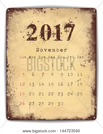 A retro style tin and enamel signboard with monthly calendar for November 2017.