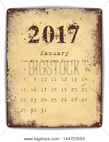 A retro style tin and enamel signboard with monthly calendar for January 2017.
