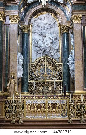 CUENCA, SPAIN - August 24, 2016: Inside the Cathedral of Cuenca, Chapel New of San Julián or the transparent, is situated in the heart of the Ambulatory in the trasaltar mayor, was carried out in unison as the High Altar, between 1,753 and 1,760, design o