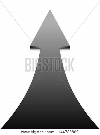 Black arrow on white background - vector illustration. Up Arrow concept of growth and progress.