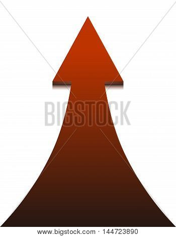 Red arrow on white background - vector illustration. Up Arrow concept of growth and progress.
