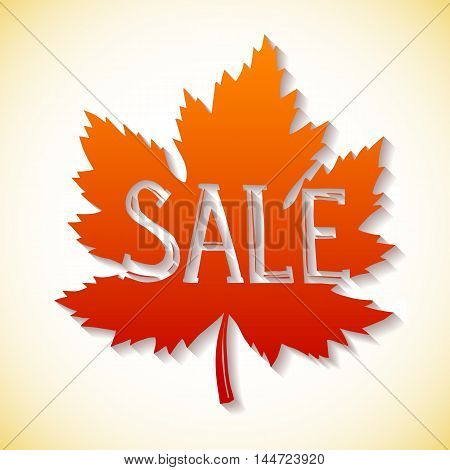 Autumnal sale. Fall leaf isolated on white background. Vector illustration