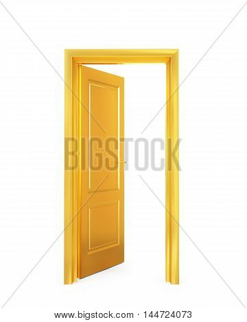 3D golden opened door on white background
