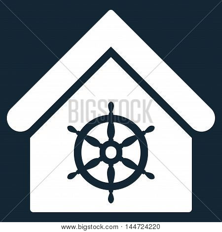 Steering Wheel House icon. Glyph style is flat iconic symbol, white color, dark blue background.