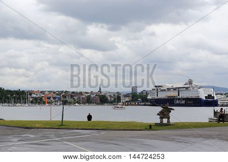OSLO, NORWAY - JULY 1, 2016: This is view of the city district Frogner from peninsula Byugdoy.