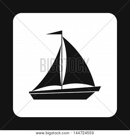 Boat with flag on mast icon in simple style isolated on white background. Sea transport symbol