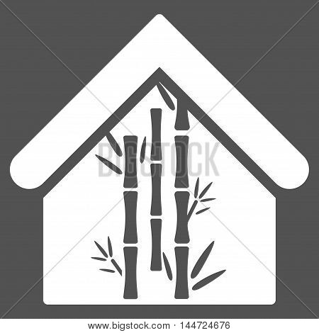 Bamboo House icon. Glyph style is flat iconic symbol, white color, gray background.