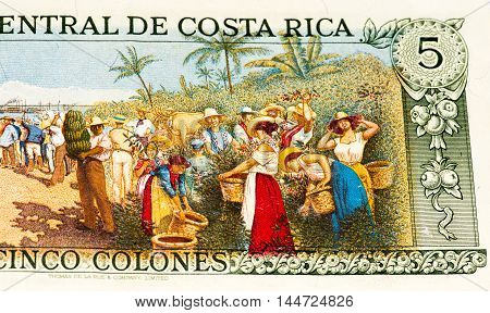 5 Costa Rican colones bank note. Colones is the national currency of Costa Rica