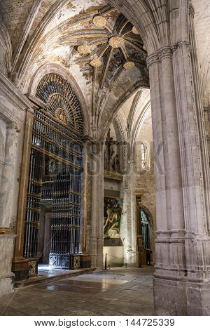 CUENCA SPAIN - August 24 2016: Detail of vault of Cathedral of Our Lady of Grace and Saint Julian of Cuenca. Castilla-La Mancha Spain.