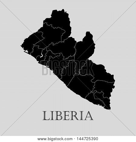 Black Liberia map on light grey background. Black Liberia map - vector illustration.