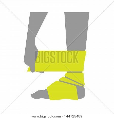 Flat icon injured leg or foot with a bandage on white background. Vector illustration