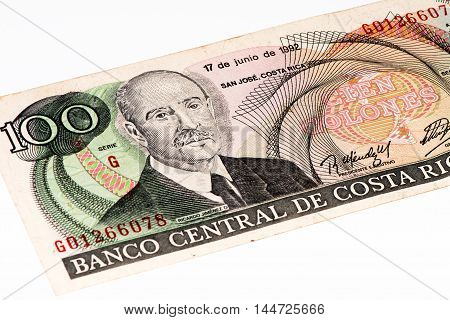 100 Costa Rican colones bank note. Colones is the national currency of Costa Rica