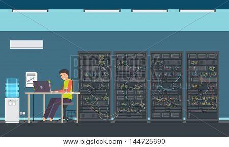 Man Working Data Center Technical Room Hosting Server Database Flat