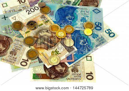 Polish zloty. Many banknotes of different denomination. Isolated.