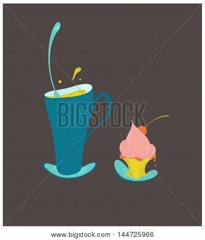 Vector illustration of an irregular form cup of tea and a saucer with a cake.