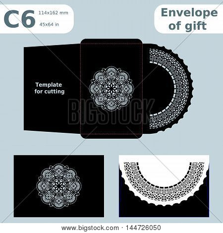 C6 openwork paper converter for romantic messagestemplate for cutting lace pattern envelope greetings laser cutting template presents packing vector illustrations.