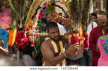 Paris France-August 28 2016 : The dancer participating in Ganesh Chaturti the birthday festival of the elephant headed Hindu deity in Paris France. Ganesh one of the most popular deities is believed to grant progress prosperity and wisdom...